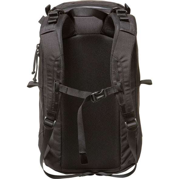 Mystery Ranch Urban Assault 24 Everyday Backpack (Black) Rear View with Harness