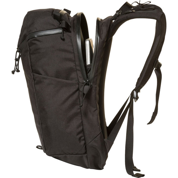 Mystery Ranch Urban Assault 24 Everyday Backpack (Black) Side View Showing Zipped Access to Laptop Pocket