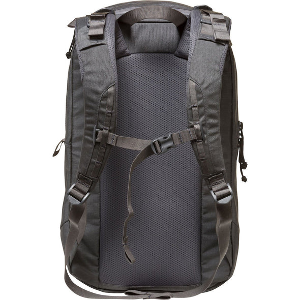 Mystery Ranch Urban Assault 24 Everyday Backpack (Shadow) Rear View with Harness