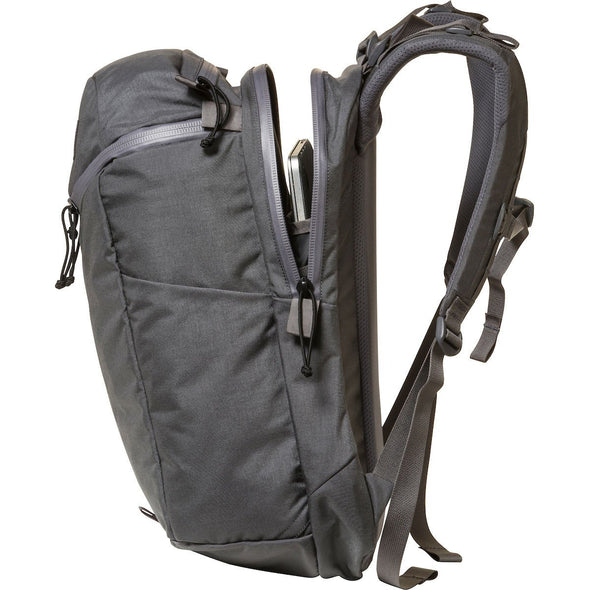 Mystery Ranch Urban Assault 24 Everyday Backpack (Shadow) Side View Showing Zipped Access to Laptop Pocket