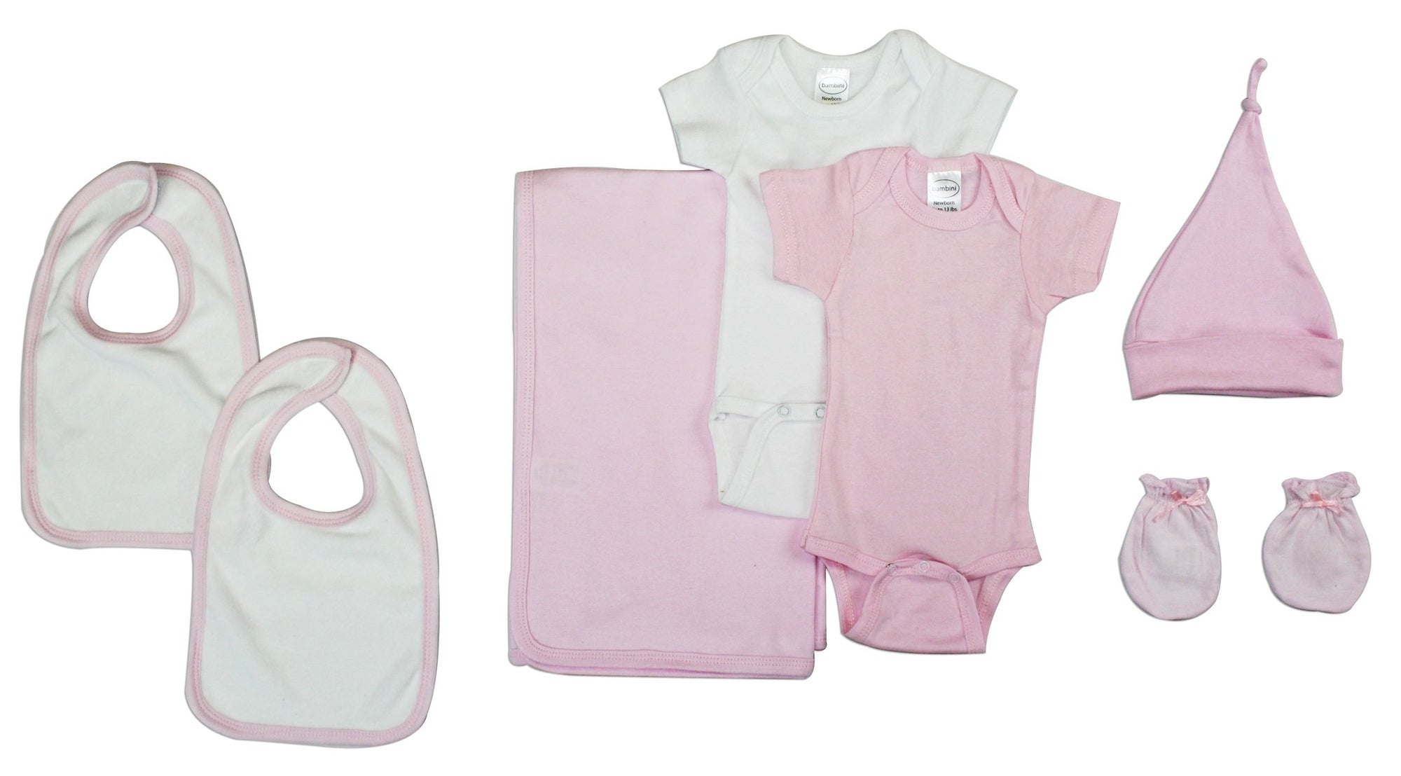 Bambini Newborn Baby Girl 7 Pc Layette Gift Set - Baby World Inc