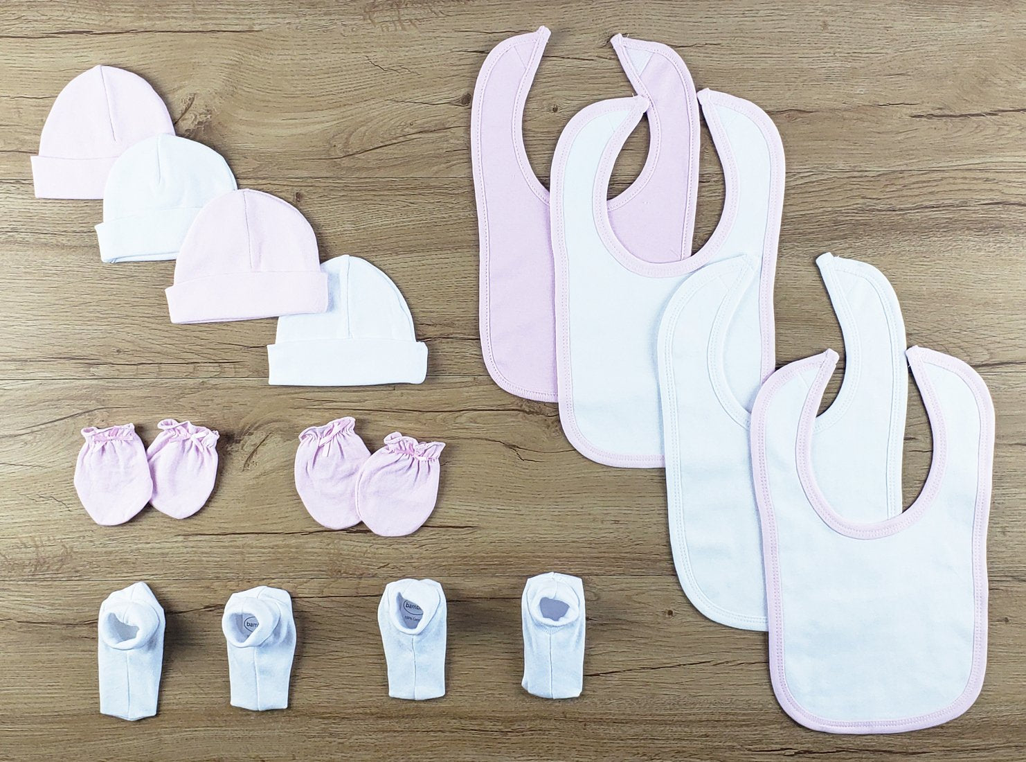 Bambini 12 PC set of Bibs, Caps, Booties - Baby World Inc