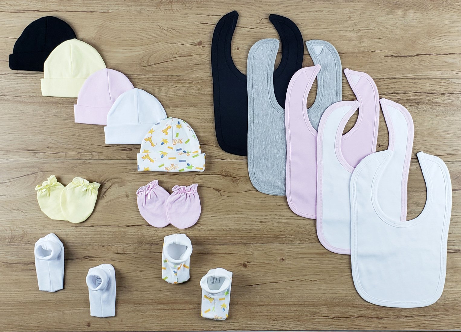 Bambini 15 PC set of Bibs, Caps, Booties - Baby World Inc