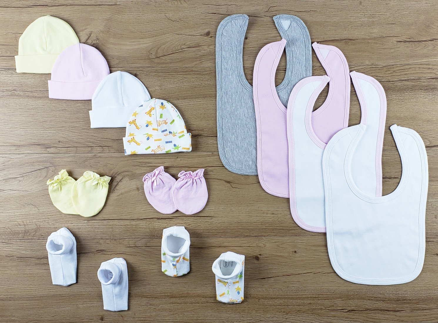 Bambini 13 PC set of Bibs, Caps, Booties - Baby World Inc