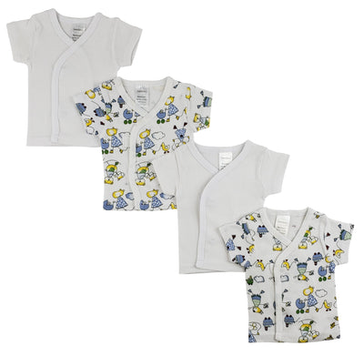 Bambini White Side Snap Short Sleeve Shirt - 4 Pack - Baby World Inc