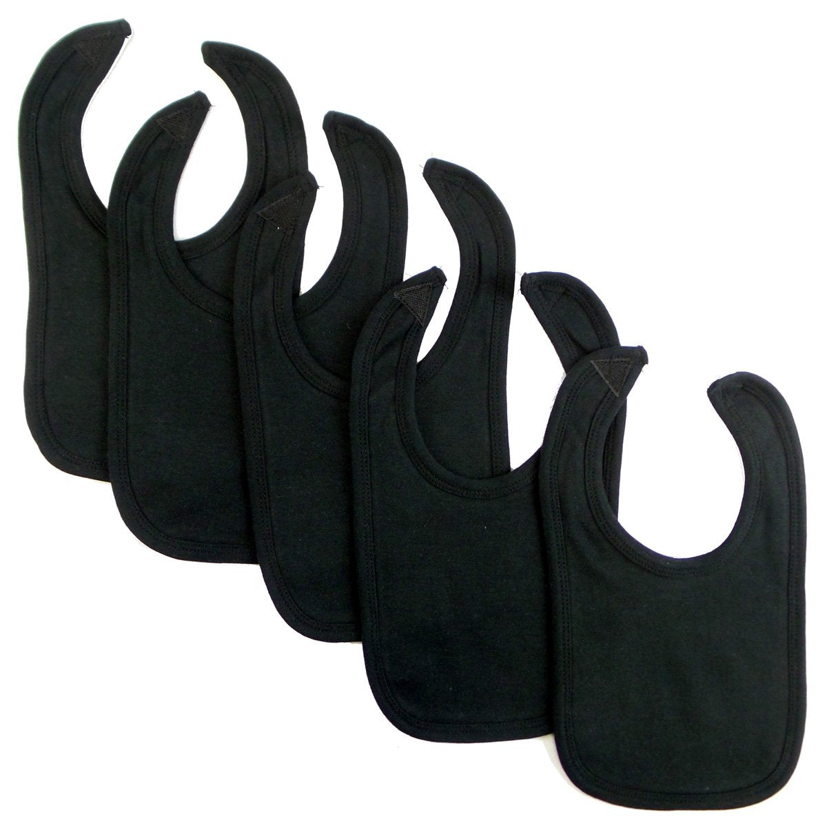 Bambini Black Interlock Bib (Pack of 5) - Baby World Inc