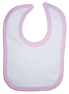 White Interlock Bib Pink Binding - Baby World Inc