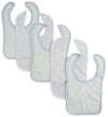Bambini White Bib With Blue Trim and White Trim (Pack of 5) - Baby World Inc