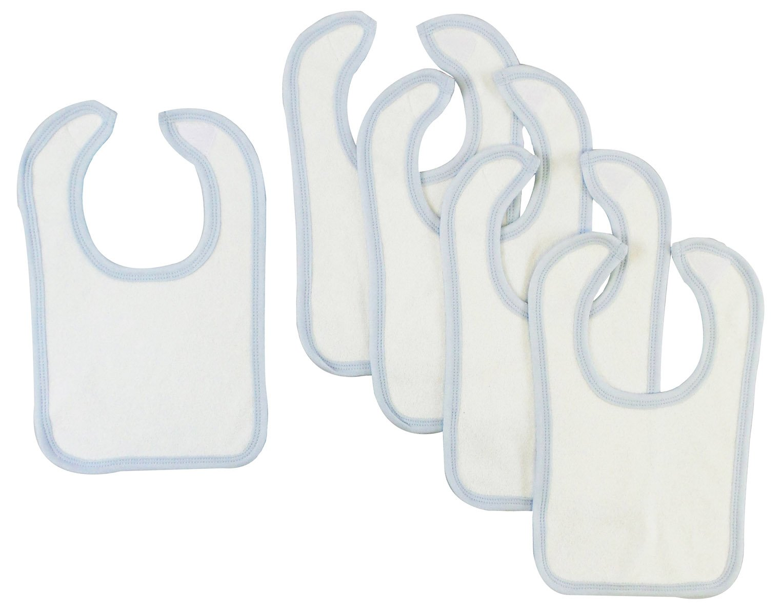 Bambini White Bib With Blue Trim (Pack of 5) - Baby World Inc