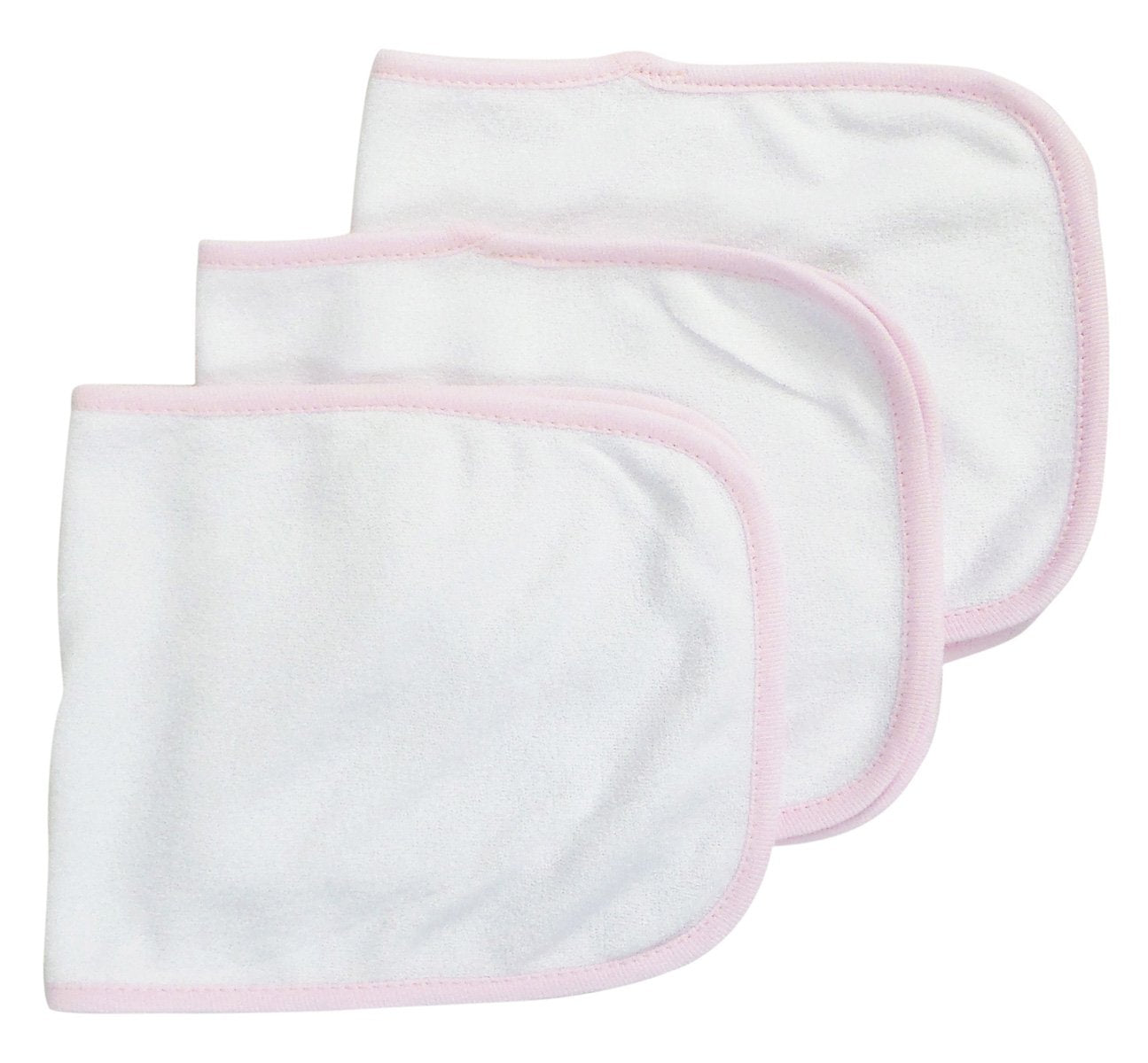 Bambini Baby Burpcloth With Pink Trim (Pack of 3) - Baby World Inc