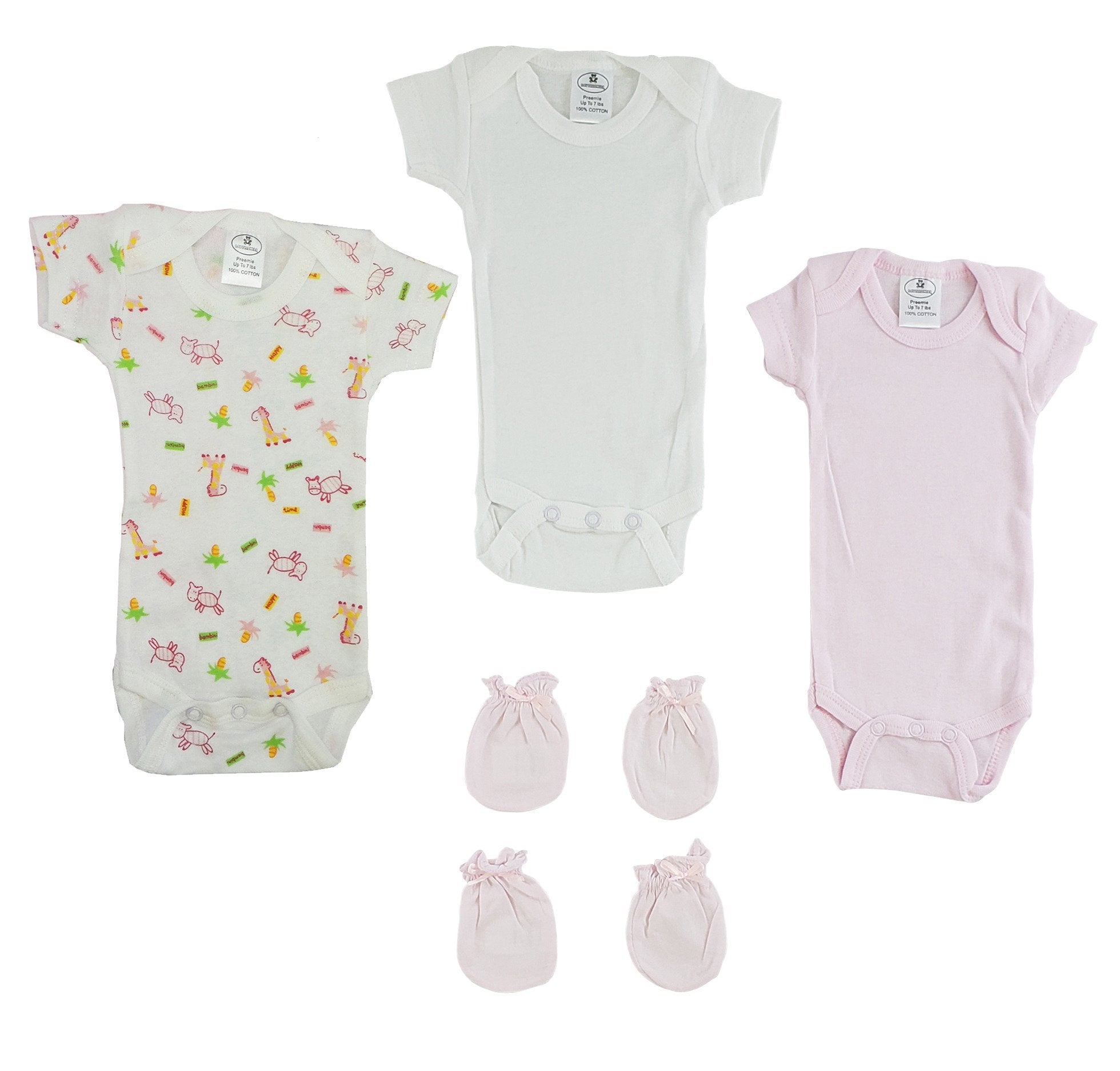 Preemie Onezies and Mittens - 5 Pcs Set - Baby World Inc