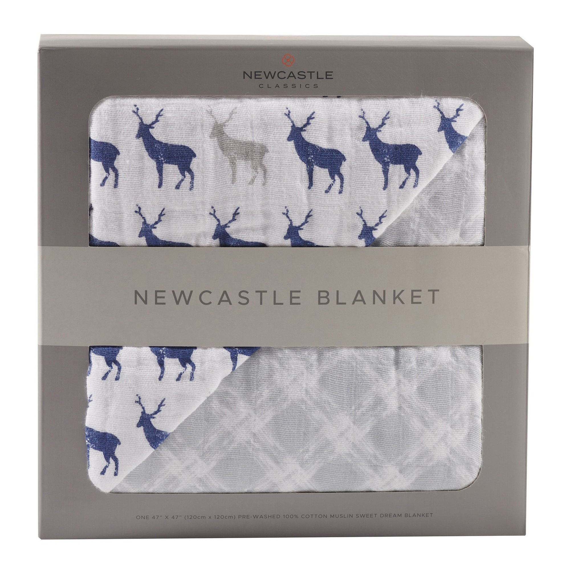 Blue Deer & Glacier Grey Newcastle Blanket - Baby World Inc