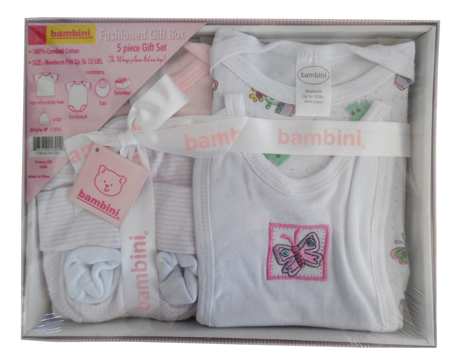 Bambini 5 Piece Gift Box - Pink - Baby World Inc