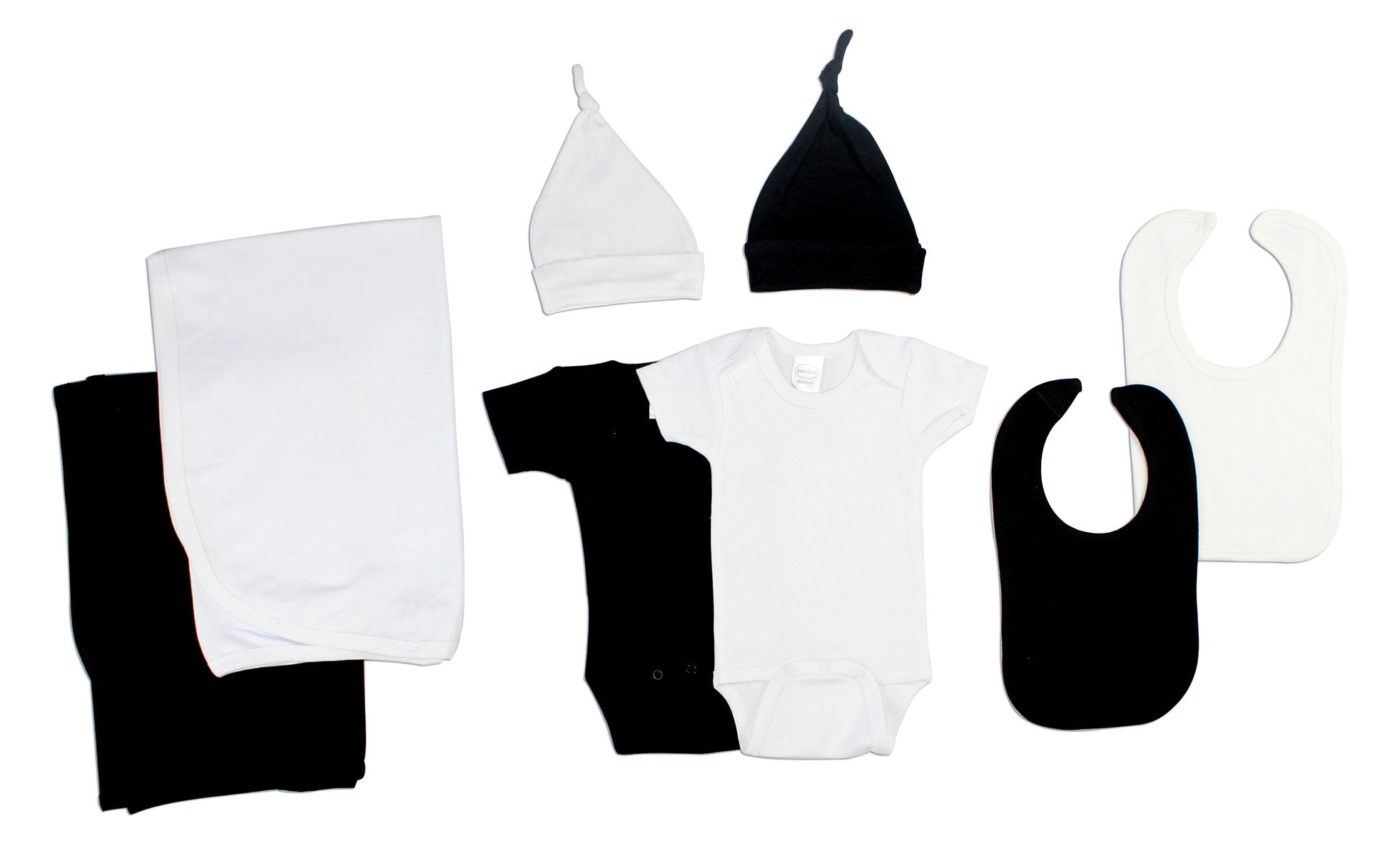 Bambini Black and White 8 Piece Layette Set - Baby World Inc