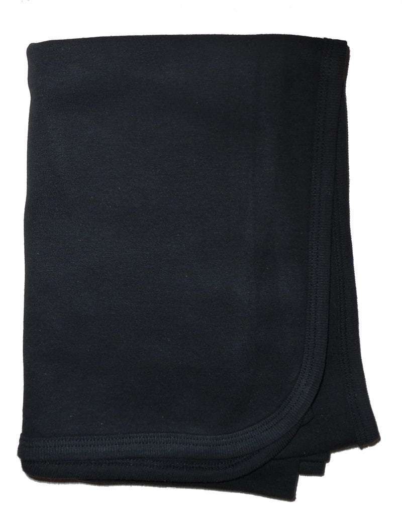 Bambini Black Interlock Receiving Blanket - Baby World Inc
