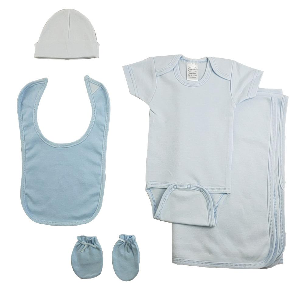 Boys 5 Piece Blue Layette Set - Baby World Inc