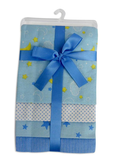 Bambini Blue Four Pack Receiving Blanket - Baby World Inc