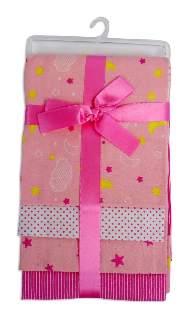 Bambini Pink Four Pack Receiving Blanket - Baby World Inc