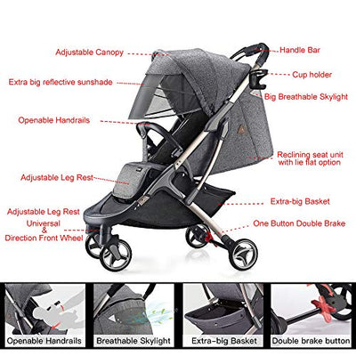 Baby Stroller 360 Rotation Function, Leather with Carrycot Pushchair Grey - Baby World Inc