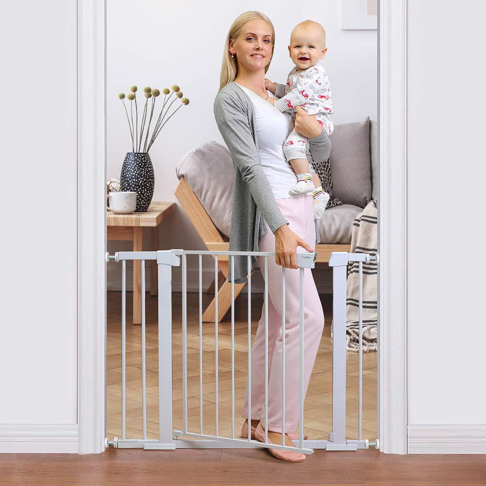 "Cumbor 40.6"" Auto Close Safety Gate, Durable Extra Wide Gate for Stairs Includes 4 Wall Cups, 2.75-Inch and 5.5-Inch Extension, White - Baby World Inc"
