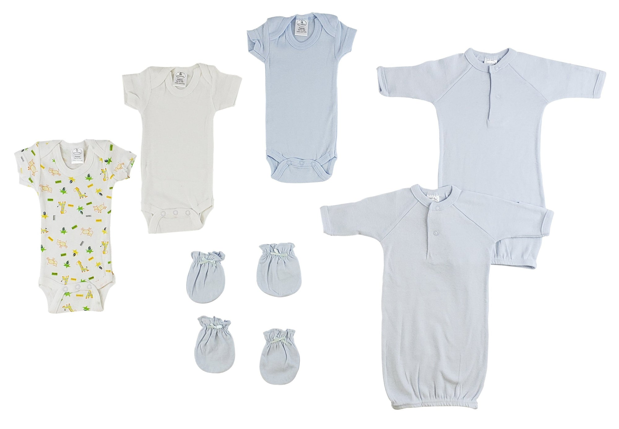 Preemie Boys Onezies, Gowns and MIttens - Baby World Inc