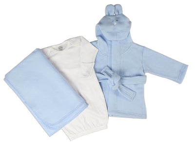 Bambini Newborn Baby Boys 3 pcs  Layette Set (Gown, Robe, Fleece Blanket) - Baby World Inc