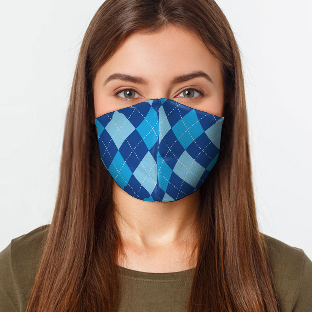 Blue Argyle Face Cover - Baby World Inc