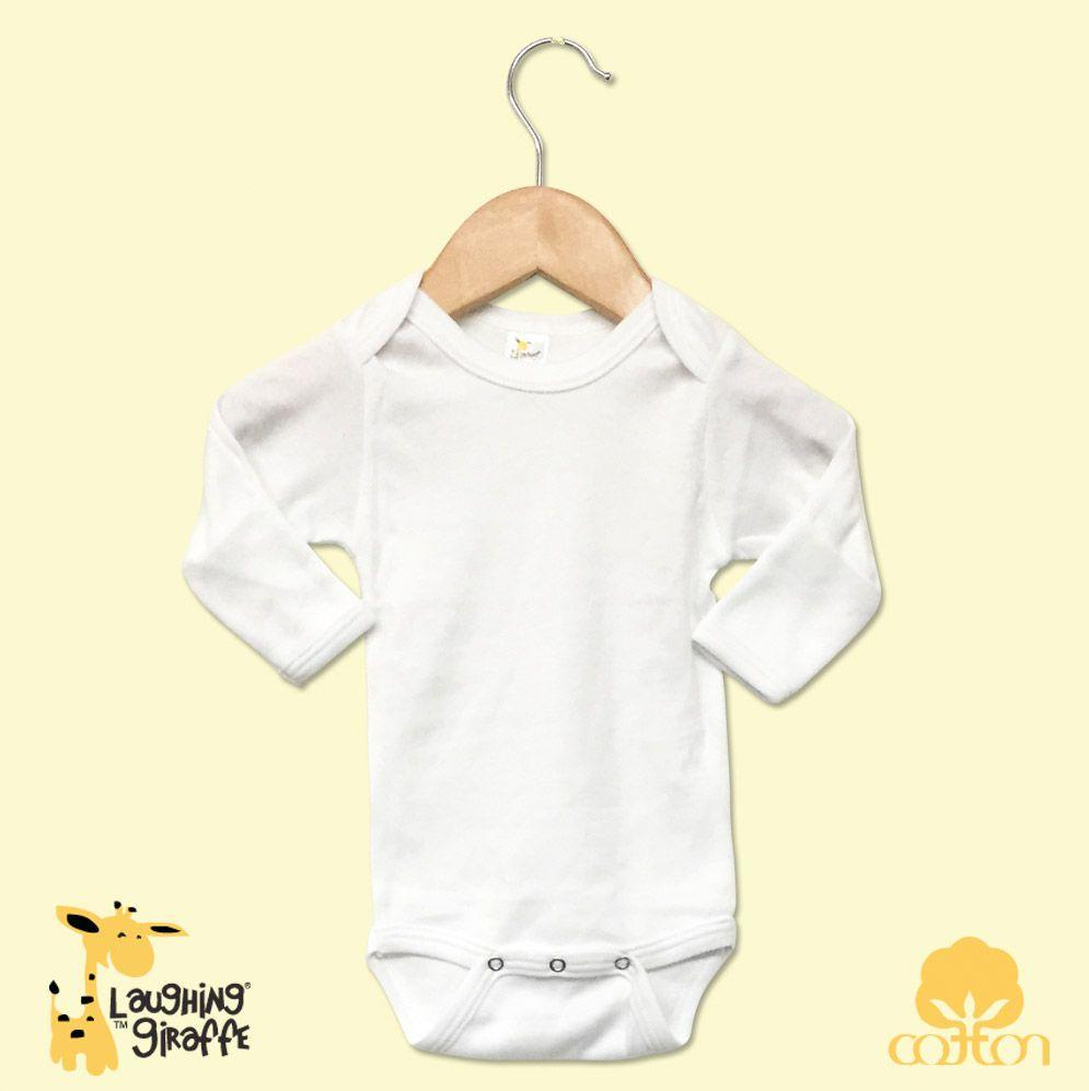 L/S Onesies w/Mittens - White - Baby World Inc