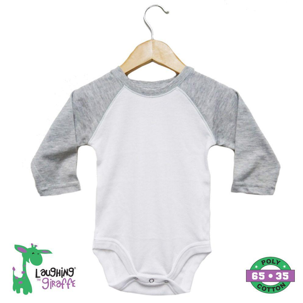 Raglan Onesies Long Sleeves - White / Gray - Baby World Inc