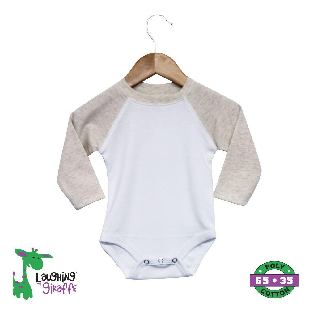 Raglan Onesies Long Sleeves - White / Oatmeal - Baby World Inc