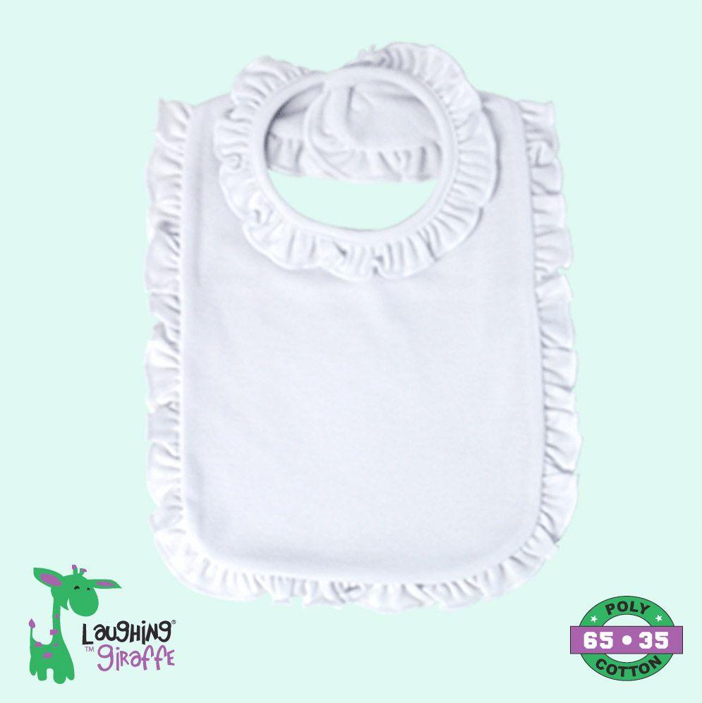 Baby Ruffles Bib 2 Ply - White - Baby World Inc