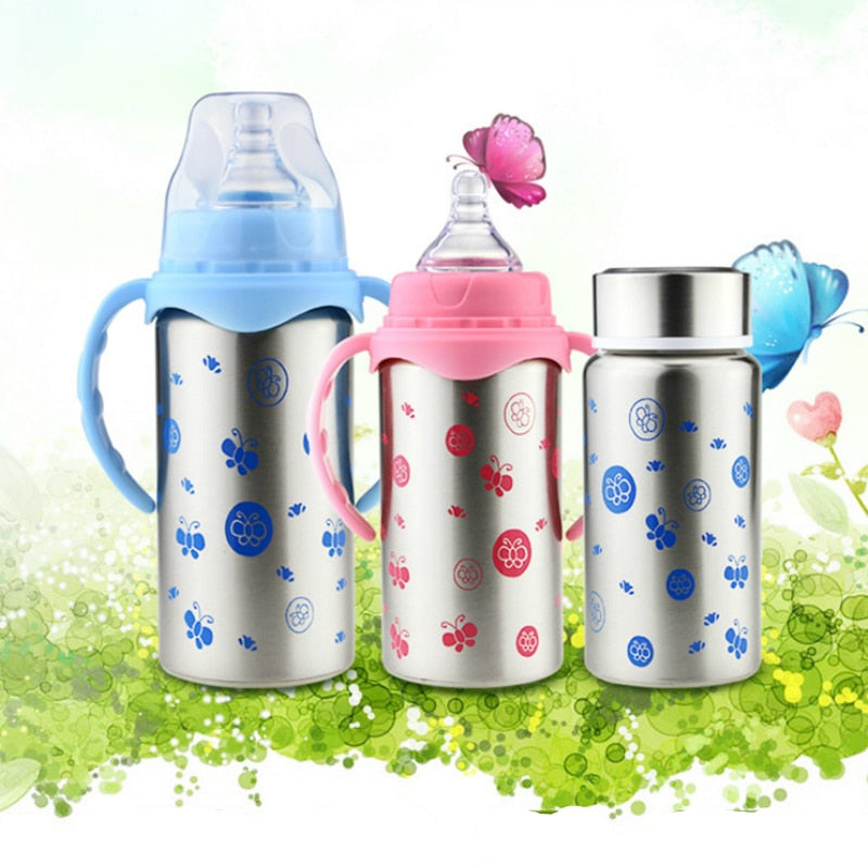 240/300ml Stainless Feeding bottle with three use-method S M L thermos - Baby World Inc