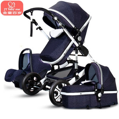 High Landscape Luxury Infant 3 in 1 stroller Baby Stroller Carriage Basket Four Wheels Stroller Baby Safe Seat - Baby World Inc