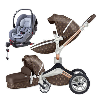 Hot mom stroller ISOFIX interface car seat luxury 3 in1 baby stroller 87cm high landscape stoller Light carriage free shipping - Baby World Inc