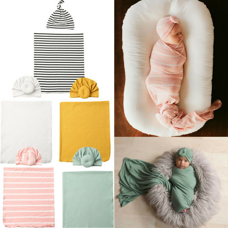 CANIS Newborn Swaddle Muslin Wrap Hat Set - Baby World Inc