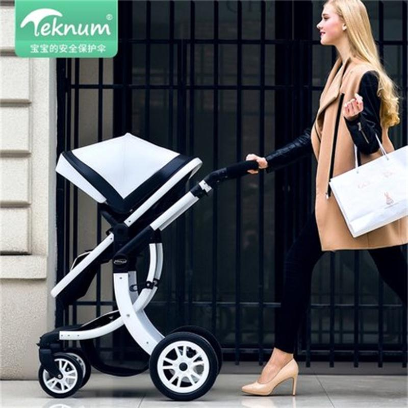 Teknum 2 in 1 Baby Stroller 55cm High landscape Stroller PU Leather Hood X Design - Baby World Inc