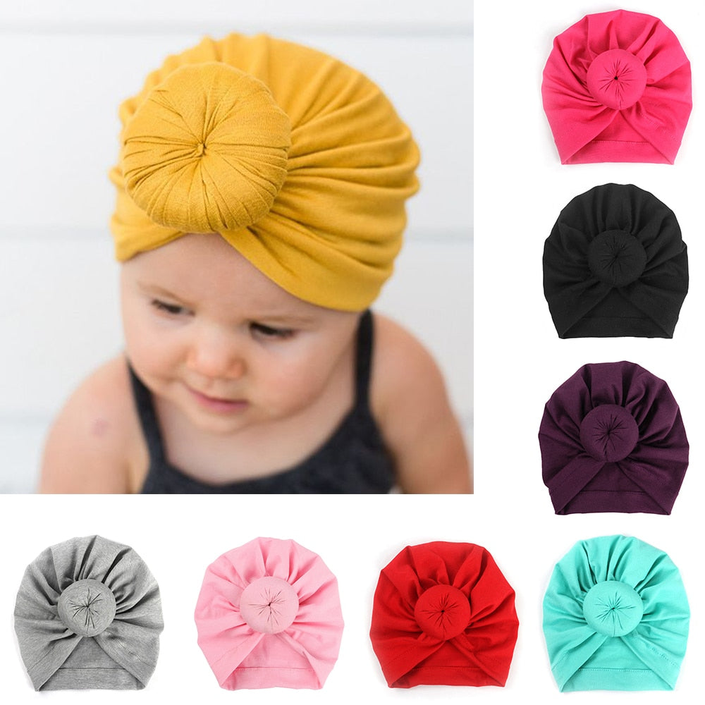 8 Solid Colors Infant Cotton Turban Headwear For Girls Spandex Beanie Hat Baby Hair Accessories - Baby World Inc