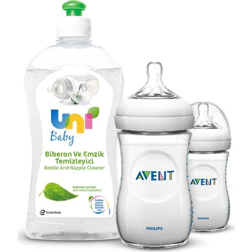 Philips Avent SCF693 / 27 Natural PP Baby Bottle 260 ml 2 Uni Baby Feeding Bottle Nipple Cleaner 500 ml With Gift! - Baby World Inc