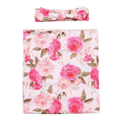 Baby Swaddle Floral Receiving Blanket  Headband 2pcs - Baby World Inc