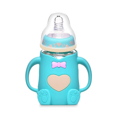 Hot Infant Baby Cute Feeding Glass Bottle Safe Silicone Milk Bottle With Handle Soft Mouth Newborn Drink Training Feeding Bottle - Baby World Inc