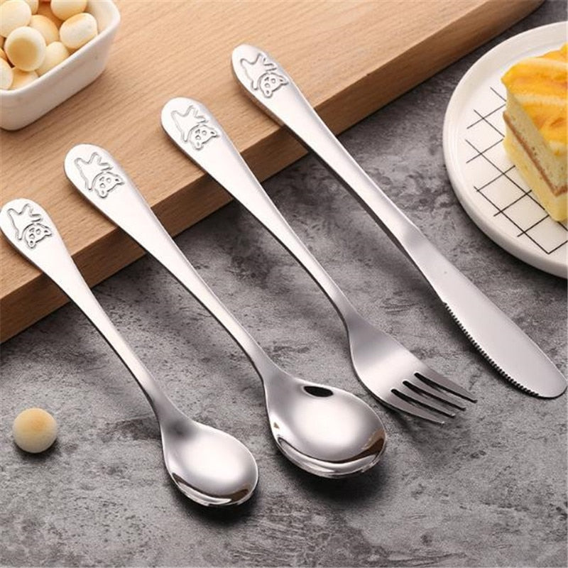 Stainless Steel Baby Portable Dishes Teaspoon Spoon Fork Knife Utensils Baby Kids Learning Eating Children Tableware - Baby World Inc