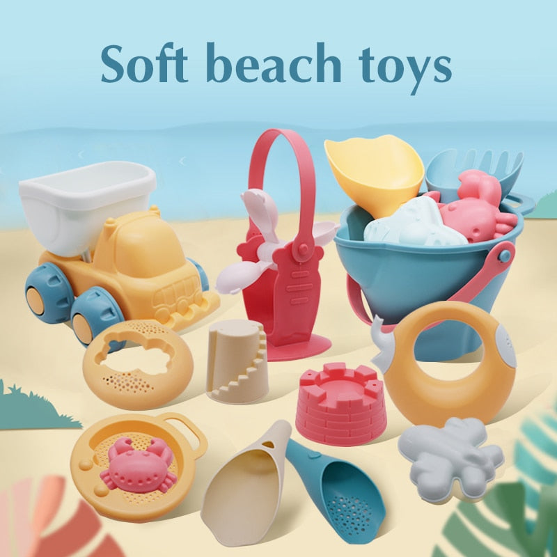 Beach Toys For Kids 5-17pcs Baby Beach Game Toys Children Sandbox Set Kit Summer Toys for Beach Play Sand Water Game Play Cart - Baby World Inc