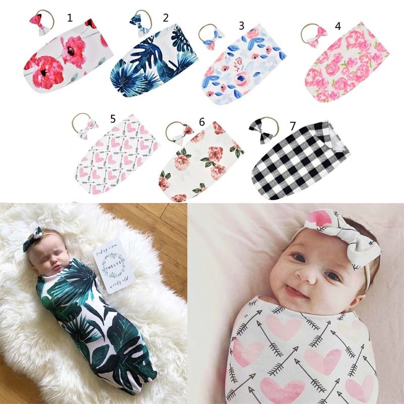 Newborn Sleeping Bag Muslin Wrap+Headband 2PCS NewBorn Photography Prop Set - Baby World Inc
