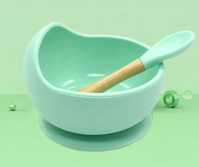 Silicone Feeding Set Wooden Spoon Bowl BPA Free High Quality Silicone - Baby World Inc