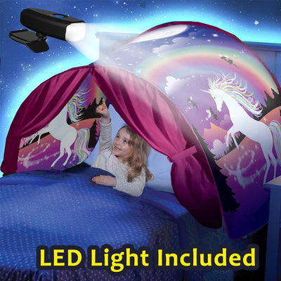 Kids Dream Bed Tents with LED Light Included Children Boys Girls Night Sleeping Foldable Tent Playhouse Unicorn Space Dinosaur - Baby World Inc