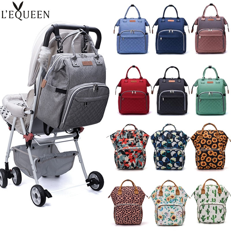LEQUEEN Nappy Backpack Large Capacity Bag Multi-function Waterproof Outdoor Travel Diaper Bags For Baby Care - Baby World Inc