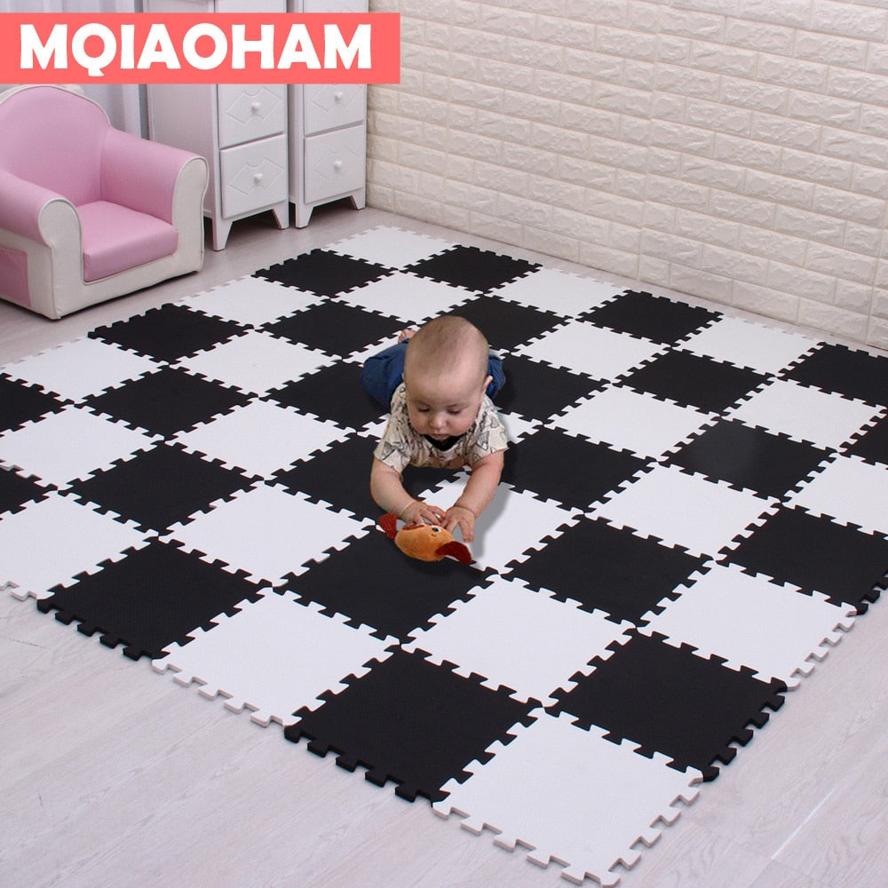 MQIAOHAM Baby EVA Foam Play Puzzle Mat 18pcs/lot Black and White Interlocking Exercise Tiles Floor Carpet And Rug for Kids - Baby World Inc