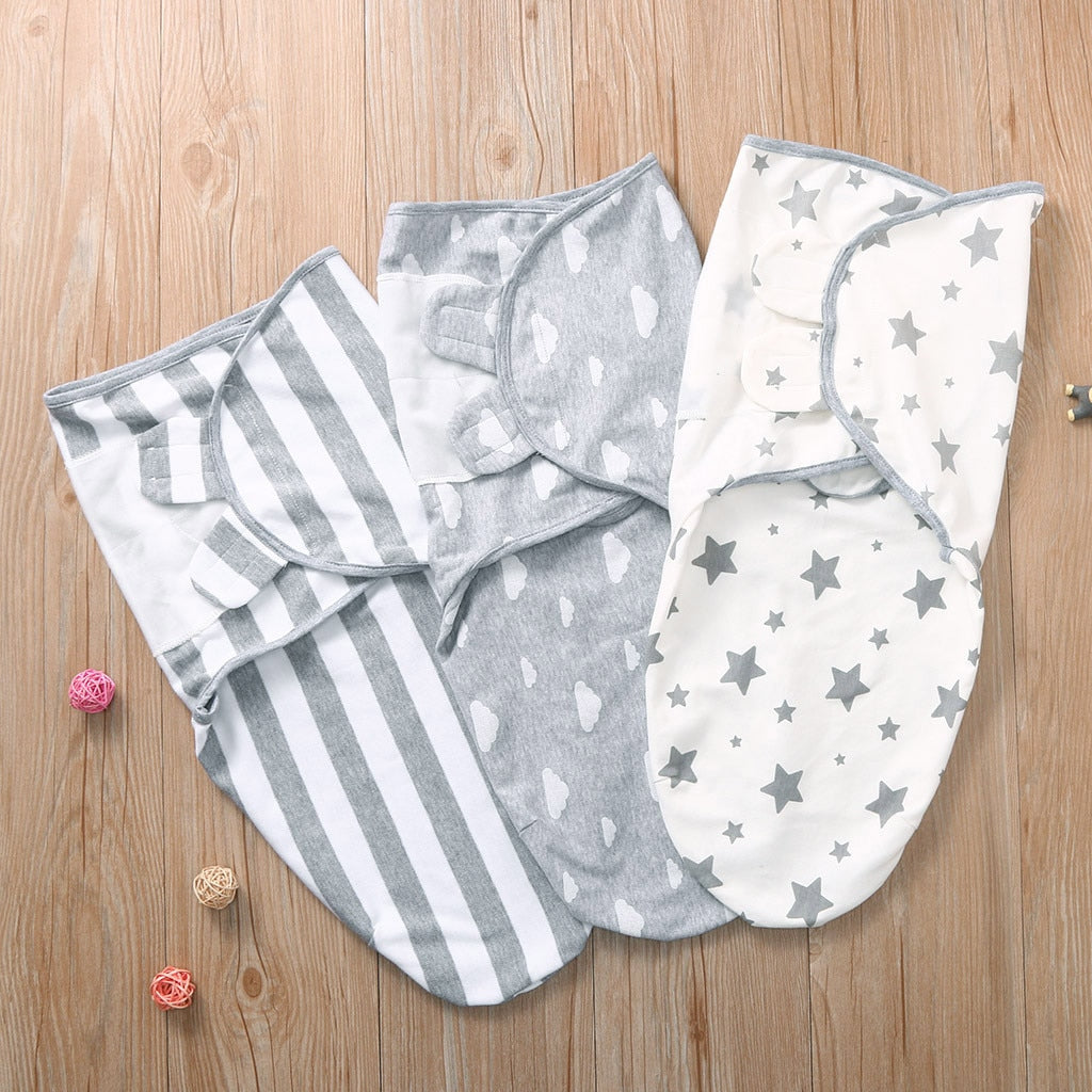 Newborn Baby Wrap Soft Swaddling Diaper Star Striped Organic Cotton Sleepsack - Baby World Inc