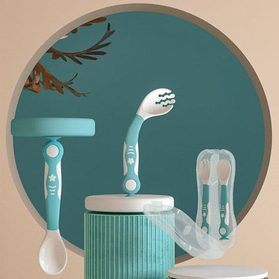 Baby Feeding Spoon Fork Set Easy Grip Heat-Resistant - Baby World Inc