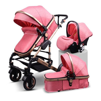 3 in 1 Baby Strollers and Sleeping Basket Europe Baby Pram One Parcel with Car Seat - Baby World Inc